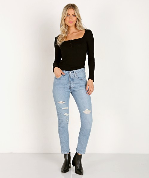 LNA Clothing Monika Sweater Rib Henley Black