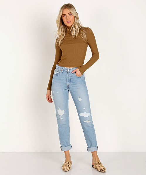 LNA Clothing Ash Crop Turtleneck Heather Camel