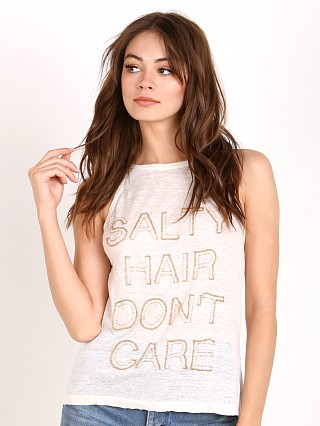 Chloe Oliver Salt Hair Don't Care Linen Beaded Tee White