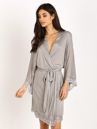 Eberjey Colette Kimono Robe with Lace  Sanctuary Grey