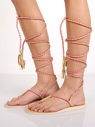 Cocobelle L Space Gili Long Wrap Braid Sandals Hot Coral
