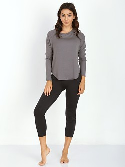 SOLOW Baby Rib Scoop Neck Pullover Grey