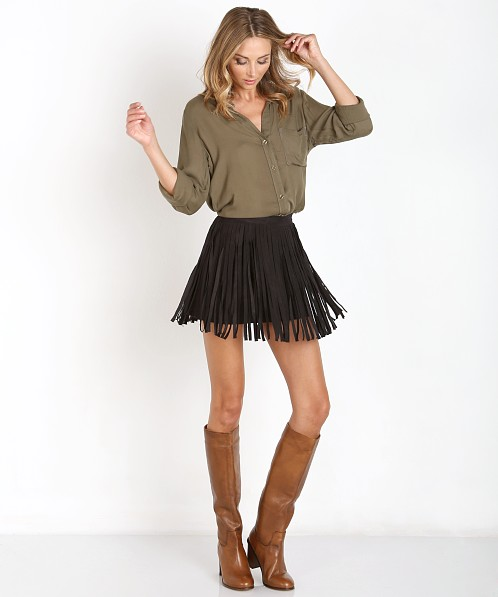 BB Dakota Fringe Skirt Black