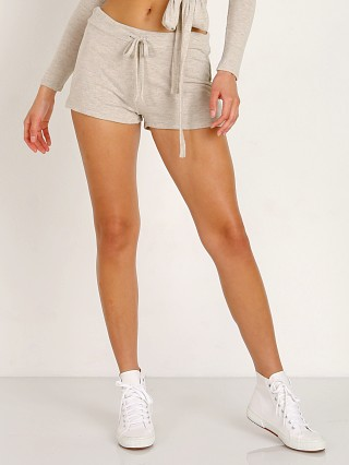 Model in oatmeal heather Beyond Yoga Brushed Hacci Jogger Shorts