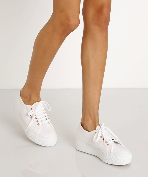 foto ufficiali efe78 f03e7 Superga Acotw Linea Up and Down Platform Sneaker White-Rose Gold