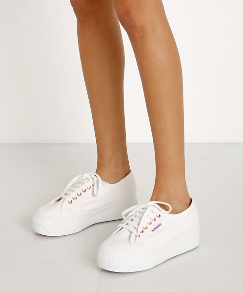 Superga Acotw Linea Up and Down Platform Sneaker White-Rose Gold