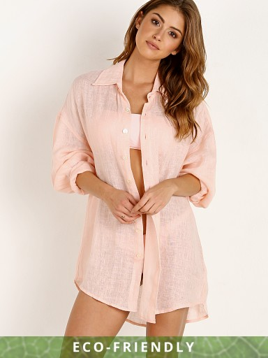Vitamin A Eco Linen Playa Shirt Dress Perla Rosa