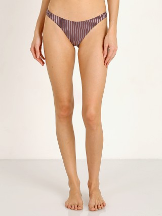 Model in cigar stripe Vitamin A California High Leg Bikini Bottom