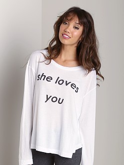 Wildfox Couture She Loves You Rainy Beach House Tee Clean White