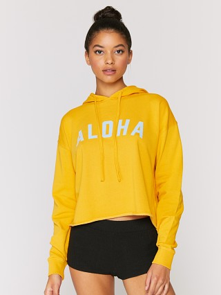 Model in marigold Spiritual Gangster Aloha Serena Pullover Hoodie