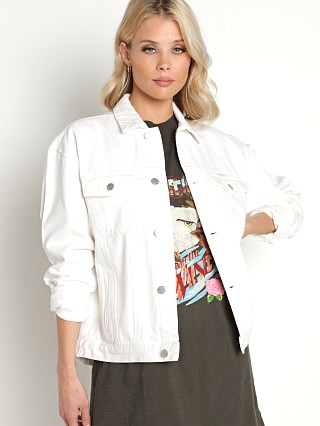 Model in vintage white Rollas Slouch Jacket