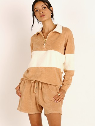 DONNI. Terry 1/2 Zip Pullover Latte with Creme