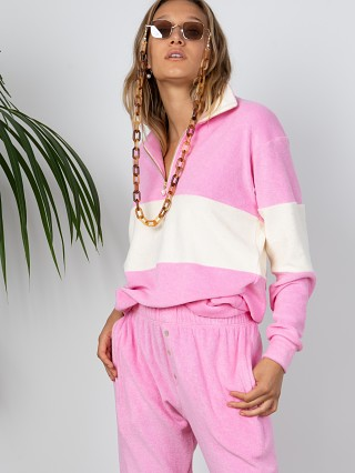 Complete the look: DONNI. Terry 1/2 Zip Pullover Flamingo With Creme