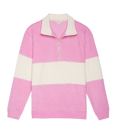 DONNI. Terry 1/2 Zip Pullover Flamingo With Creme