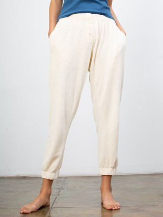 DONNI. Terry Henley Sweatpant Creme