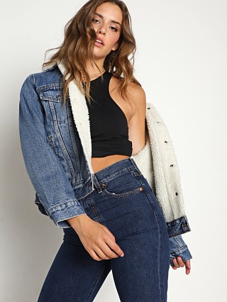 Model in addicted to love Levi's Ex-Boyfriend Sherpa Trucker Denim Jacket