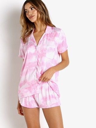 Model in washed pink tie dye Splendid Short Sleeve Notch Collar PJ Set