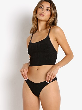 Model in black Hunza G Nile Strap Bikini Set