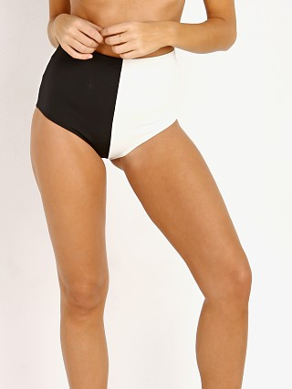 Mara Hoffman Lydia High Waisted Bikini Bottom Black/Cream