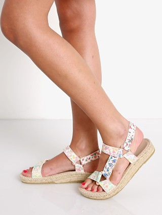 Model in mixed flowers Manebi X Love Shack Fancy Hiking Sandal