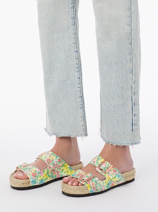Model in rainbow skies Manebi X Love Shack Fancy Nordic Sandals