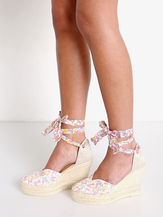 Model in fruity punch Manebi X Love Shack Fancy Heart Shaped Wedge