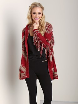 Free People Show Me The Way Fringe Cardi Red