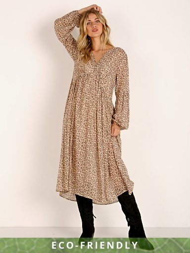 Auguste the Label Nomad Helena Midi Dress Tan Leopard