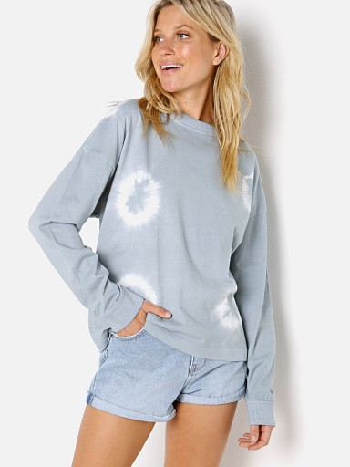 Model in blue mirage tie dye Richer Poorer The Relaxed Long Sleeve Pull