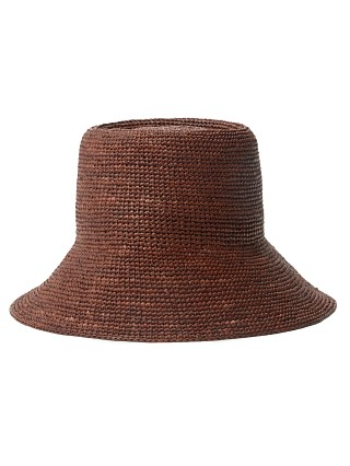 Model in chocolate Janessa Leone Felix Packable Raffia Bucket Hat