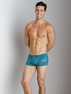 Emporio Armani Big Logo Lycra Swim Trunk Peacock
