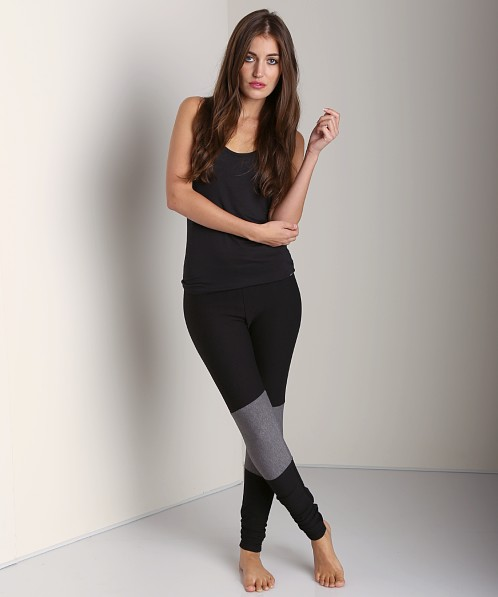 Plush Color Blocked Legging Black with Grey