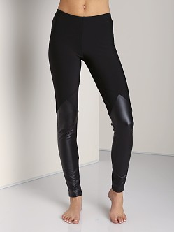 Plush Fleece-Lined Spartan Leggings Black with Liquid Black