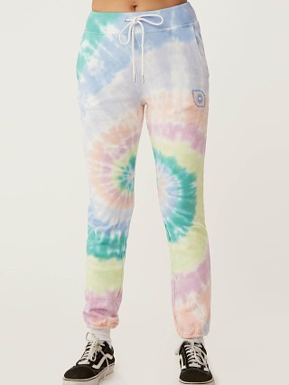 Model in prismatic tie dye Daydreamer LA Eye Sweatpant