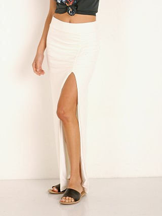 Model in white Stillwater Rib Maxi Skirt
