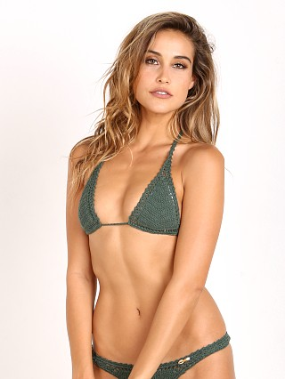 She Made Me Sliding Halter Bikini Top Emerald