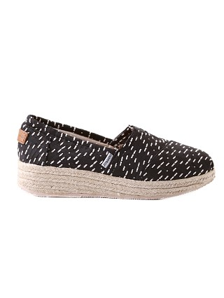 Joy & Mario Stacked Wedge Espadrille Jess Black