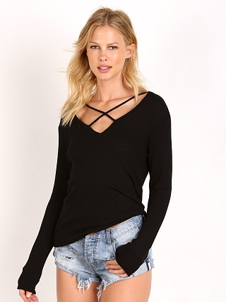 LNA Clothing Cross Strap Sweater Black