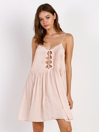 Indah Vivid Lace Up Mini Dress Nude Blur