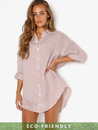 Model in mallorca Vitamin A Eco Linen Playa Shirt Dress