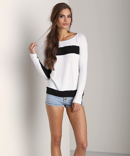 Splendid Waffle Loose Knit Long Sleeve Sweater