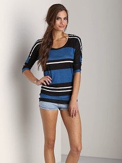 Splendid Tribeca Stripe Tee Teal/Black