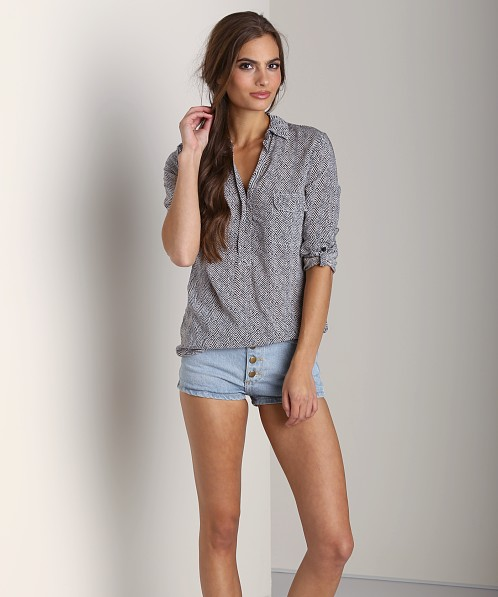 Splendid Herringbone Long Sleeve Shirting Sand Dollar