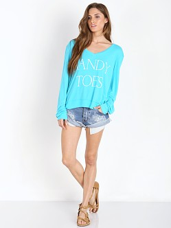 WILDFOX Sandy Toes Vneck Baggy Beach Jumper