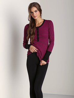 Splendid Long Cuff Mini Stripe Henley Bayberry