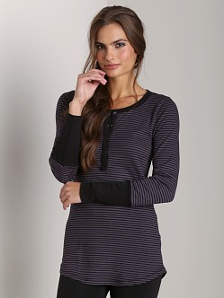 Splendid Long Cuff Mini Stripe Henley Dark Slate
