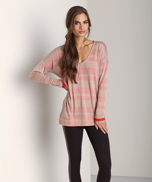 Splendid Quebec Shadow Stripe Sweater Camel