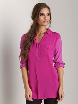 Splendid Shirting Long Sleeve Collar Top Bayberry