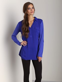 Splendid Shirting Long Sleeve Collar Top Blue Jewel