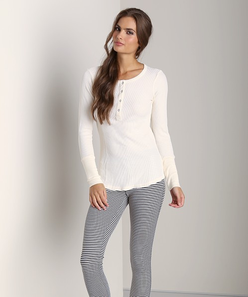 Splendid Thermal Long Sleeve Henley Sand Dollar